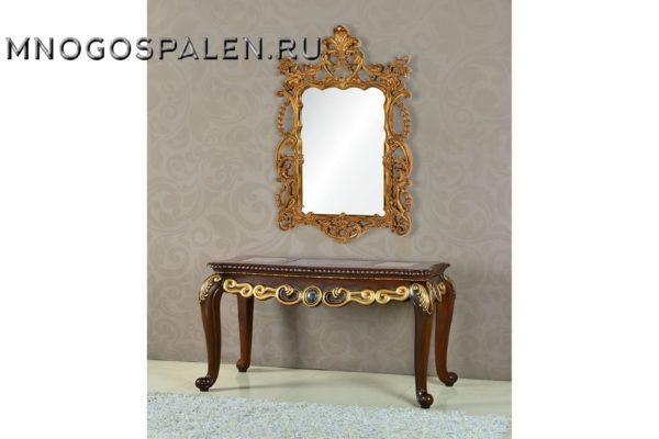Консоль А89007-1 Patricia коричневая с золотом купить в салоне-студии мебели Барселона mnogospalen.ru много спален мебель Италии классические современные